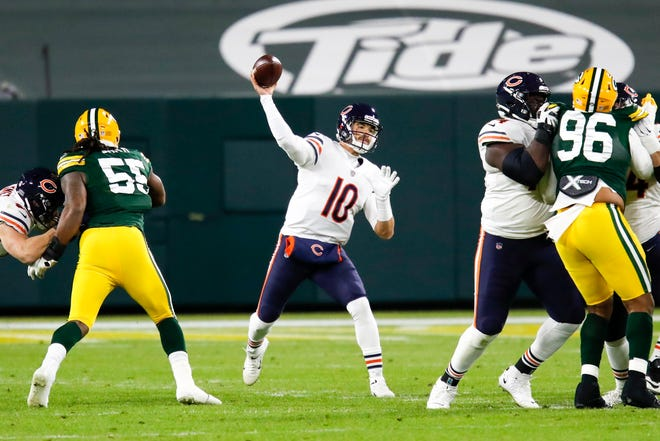 Chicago Bears QB Mitchell Trubisky throws a pass against the Green Bay Packers Sunday, Nov. 29, 2020, in Green Bay, Wis. The Packers won 41-25. MATT LUDTKE/THE ASSOCIATED PRESS