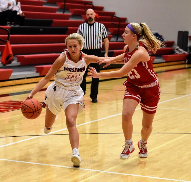 Roland-Story guard Dani Grady drives by Ballard's Josie Fleischmann during the first half of Roland-Story's 60-28 loss to the No. 3 (4A) Bombers Nov. 24 in Story City.