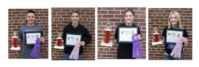 Jacob Schultz, Crop Show Champion; Adam Johnson, Reserve Champion; Jasmine Petermann, Jr. High Champion; Samantha Price, Jr. High Reserve Champion.