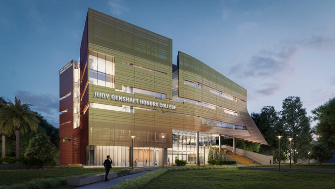 A rendering of the planned new Judy Genshaft Honors College building at the University of South Florida Tampa campus.
