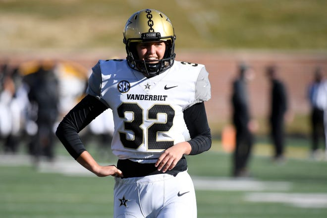 Vanderbilt place kicker Sarah Fuller warms up before the start of an NCAA college football game against Missouri on Saturday, Nov. 28, 2020, in Columbia, Mo.