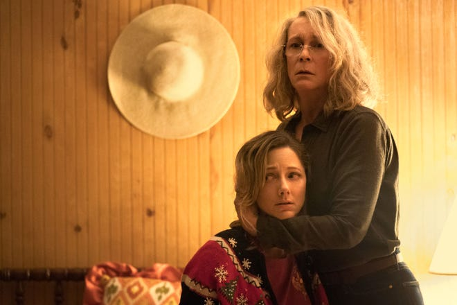 """Judy Greer (seated) plays the daughter of Jamie Lee Curtis' Laurie Strode in the new """"Halloween"""" trilogy, which shot its second installment """"Halloween Kills"""" in Wilmington in 2019."""