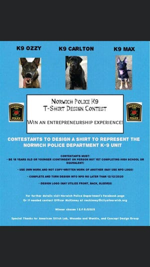 Norwich Police Department K9 T-shirt student design contest