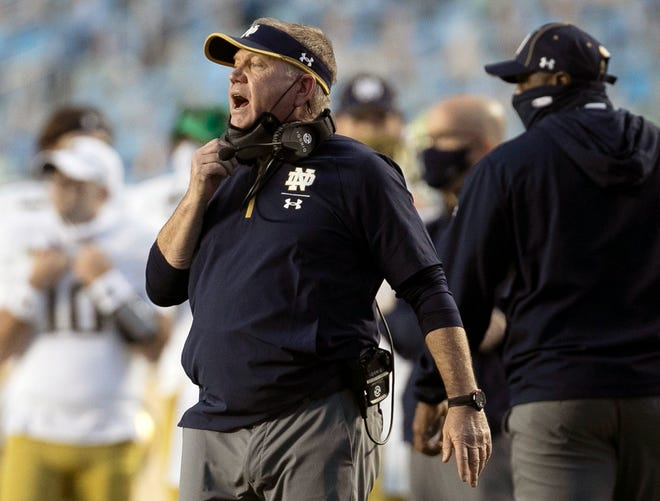 Notre Dame head coach an Assumption graduate Brian Kelly directs his team during the second quarter against North Carolina last Saturday.