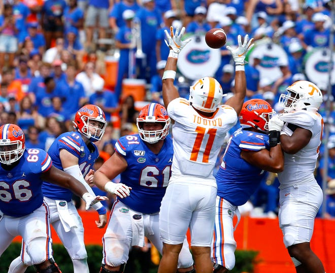 Florida quarterback Kyle Trask, making his first career start on Sept. 21, 2019, threw for 293 yards and two touchdowns to lead Florida over Tennessee, 34-3.
