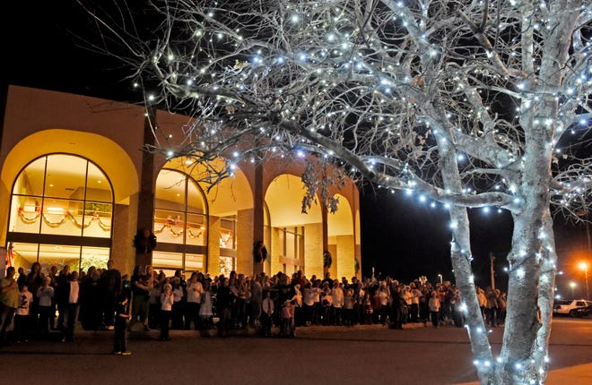 A past Rainbow City Christmas tree lighting is pictured. This year's ceremony is at 6 p.m. Tuesday and includes a concert by legendary Southern Gospel quartet Gold City.