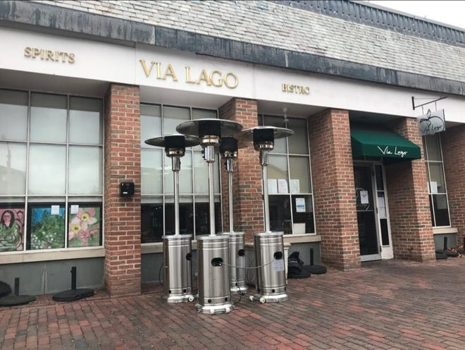 Heaters outside Via Lago in Lexington. The restaurant used these in the fall, but they are not sufficient for winter temperatures.
