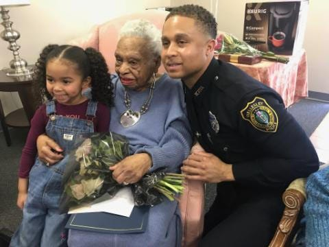 In 2019, Sgt. William Griffin  and his daughter Grace, 6, attended Herlda Senhouse's 108th birthday party.