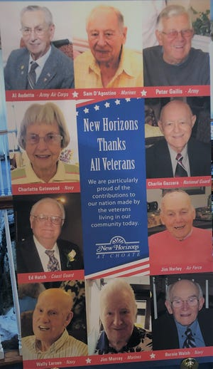 The photo board honoring the veterans at New Horizons at Choate.