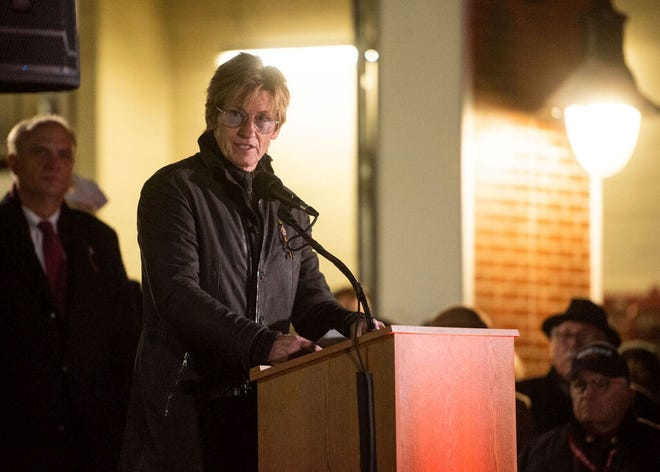 Actor Denis Leary, the cousin of Jeremiah Lucey and founder of The Leary Foundation, speaks during a ceremony commemorating the 20th anniversary of the Cold Storage Fire on Dec. 3, 2019. ]