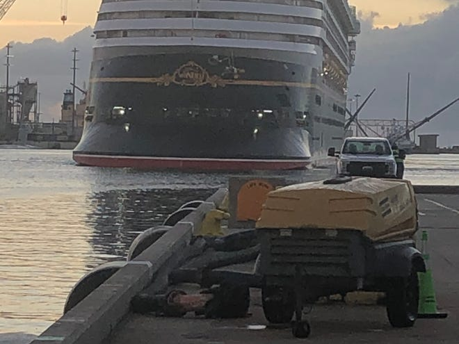 The Disney Wonder made a brief stop at Port Canaveral on Friday without passengers to take on fuel and supplies. The Disney Fantasy is scheduled in port for a similar stop on Wednesday.