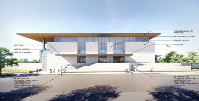 An updated rendering of the south-facing facade of the Mulva Cultural Center. The $70 million center would include space for national exhibits, a cafe, an auditorium that seats 200, classrooms and meeting spaces.