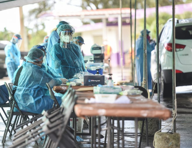 Medical professionals work at a COVID-19 community testing site at the Agat Senior Citizen Center parking lot in this Nov. 30 file photo. A request for reconsideration to construct a public health laboratory was included in the National Defense Authorization Act, according to Adelup.