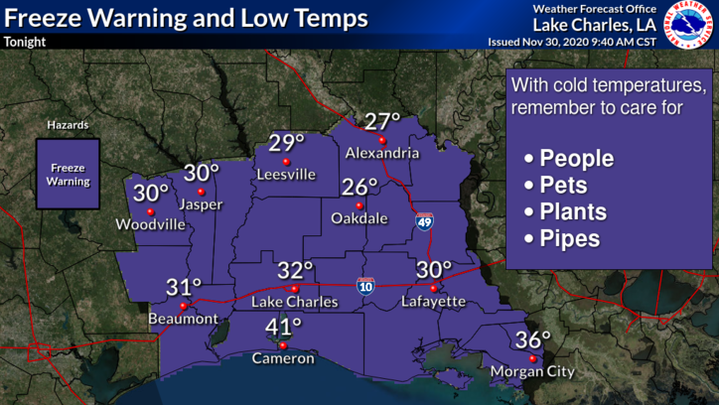 The National Weather Service has issued a freeze warning the area.