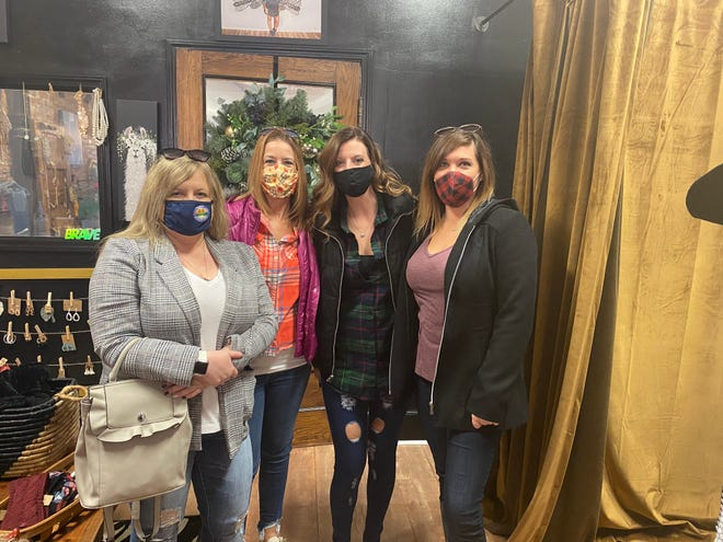 From left to right: Angie Claypool, Jennifer Sidel, Ellen Thrush and Kati Kennedy supported Brave Women Boutique in Marion for Small Business Saturday Nov. 28, 2020.