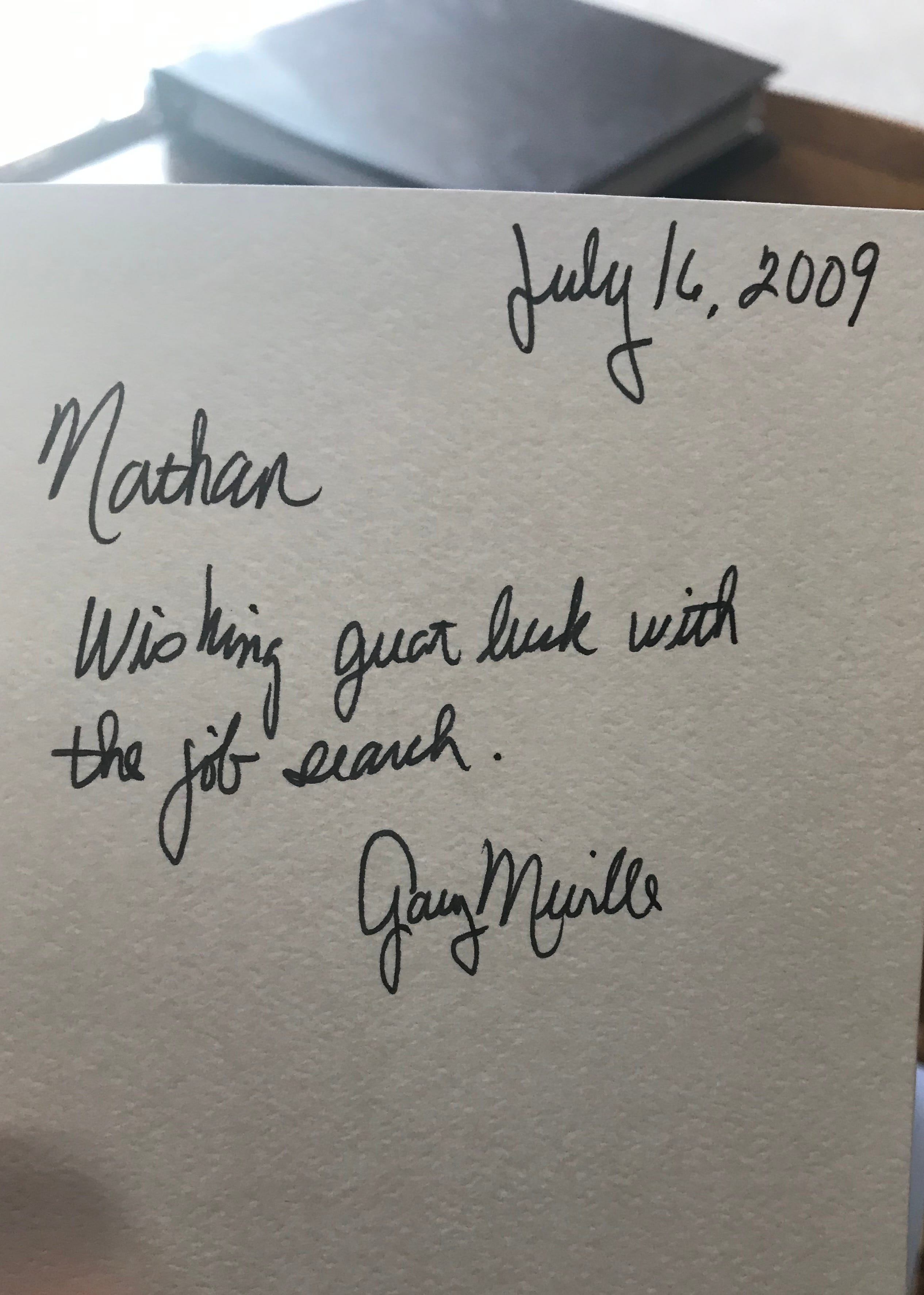A card that accompanied a $3,500 check to Nate Lindstrom from then-Abbot Gary Neville of St. Norbert Abbey in De Pere.