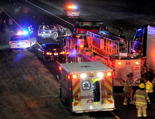 Wichita Falls emergency responders worked the scene of a pin-in accident Sunday night on Central Freeway eastbound near the Fisher Road overpass.