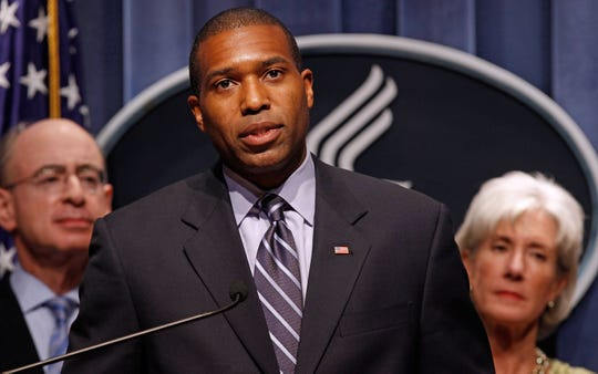 U.S. Associate Attorney General Tony West during a 2009 news conference with Health and Human Services Secretary Kathleen Sebelius and  HHS Inspector General Daniel Levinson.