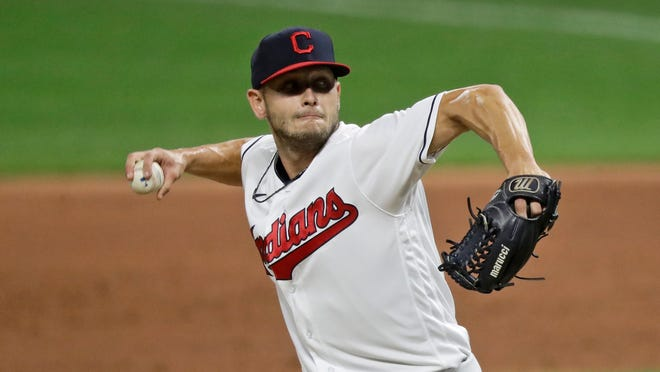 Cleveland Indians relief pitcher Cam Hill delivers in the ninth inning in the second baseball game of a doubleheader against the Chicago White Sox, Tuesday, July 28, 2020, in Cleveland. (AP Photo/Tony Dejak)