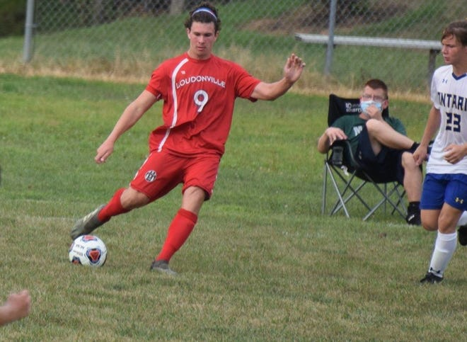 Loudonville High School's all Ohio soccer player, Trevor Portz, controls the ball in a game at Ontario in September.