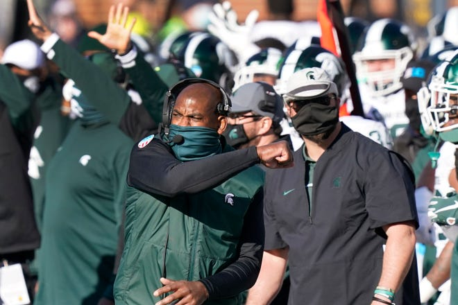 First-year Michigan State coach Mel Tucker pumps his fist after the Spartans defeated Michigan on Oct. 31.