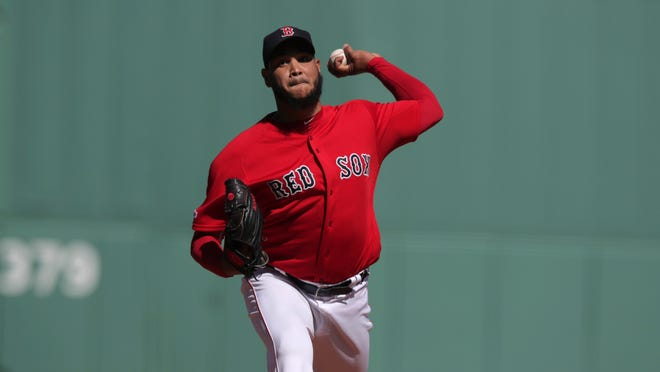 Red Sox pitcher Eduardo Rodriguez delivers against the San Francisco Giants at Fenway in September 2019.