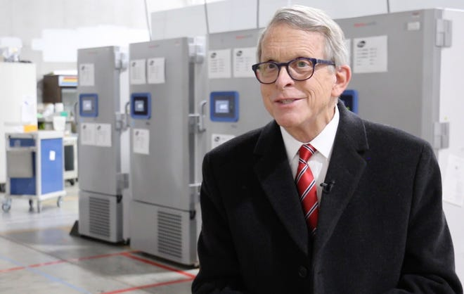 Gov. Mike DeWine visited a central Ohio warehouse on Tuesday that will function as a distribution center for the Pfizer COVID-19 vaccine. DeWine has said the vaccine will likely start shipping by Dec. 15.