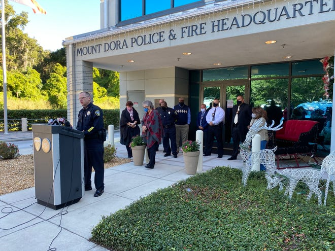 Interim Mount Dora Police Chief Brett Meade holds press conference.