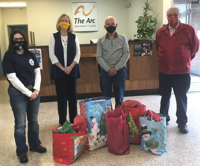 The Davidson County Civitan Club delivered Christmas gifts for Operation Santa to the Arc of Davidson County. Taking part was immediate past president Stephanie Wilkerson; with Teresa McKeon, executive director of the Arc; Civitan Robert Wilkerson; and Civitan Gary Arnold.