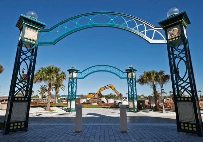 New pavers are in place along a crosswalk on Daytona's Beach Street. Also pictured are the newly rebuilt archways damaged during Hurricane Irma in 2017.