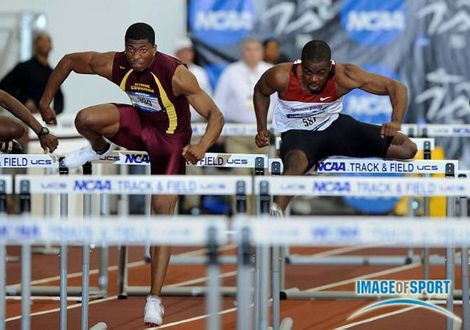 Bethune-Cookman's Ronnie Ash, left, competes in the NCAA Indoor Track and Field Meet on March 13-14, 2009, in College Station, Texas.