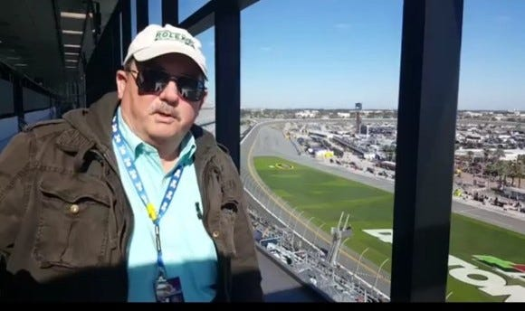 Godwin Kelly in familiar surroundings, high above the tri-oval in Daytona's press box.