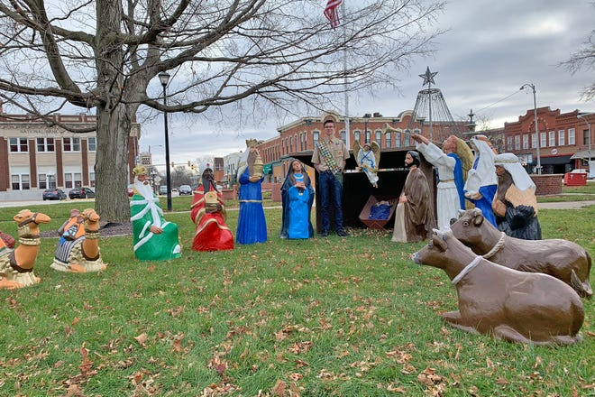 Briar Shinn, 16, of Monmouth, refurbished the city's nativity set for his Eagle Scout project. The set is on display on the Public Square.