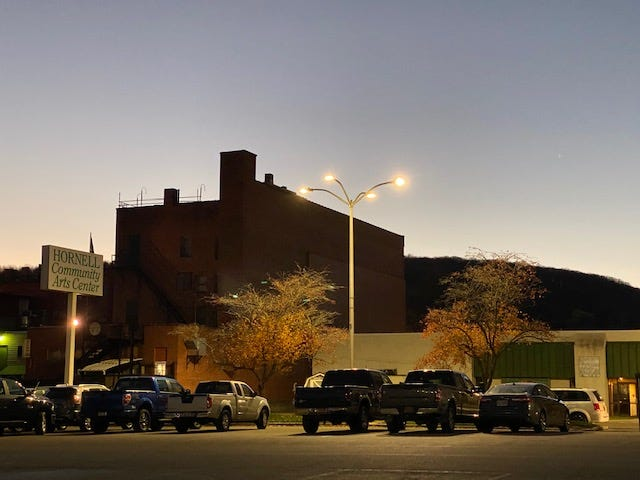 LED lights shine in the Hornell municipal parking lot. Hornell and NYSEG have partnered to convert the city's street lighting system to energy-reducing and cost-saving LED lights.