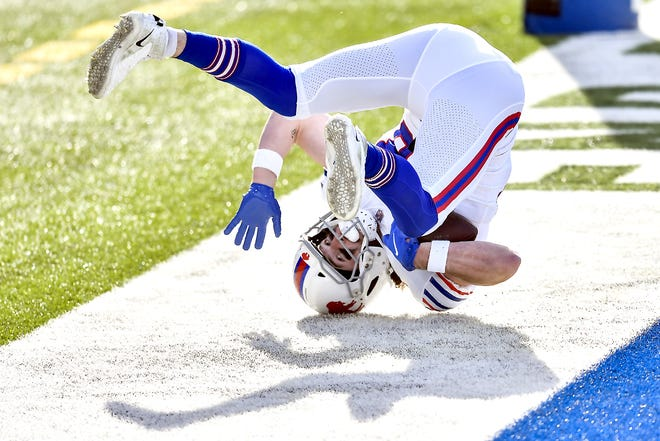 Buffalo Bills tight end Dawson Knox catches a touchdown pass during the first half of Sunday's game against the Los Angeles Chargers in Orchard Park, New York.