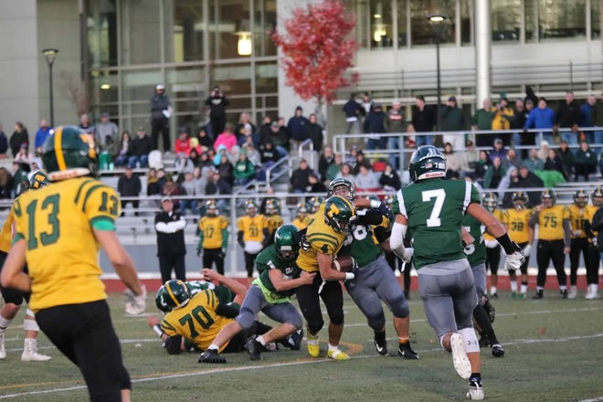 Grafton High School's Leif Charbonneau who plays on the offensive and defensive lines for varsity football.