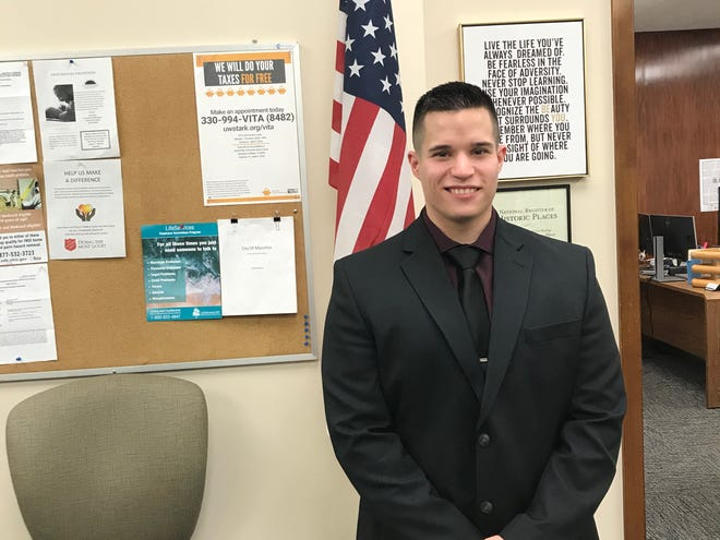 New Massillon Police Department Officer Joshua Grimes was sworn in Monday by Mayor Kathy Catazaro-Perry during a virtual ceremony.
