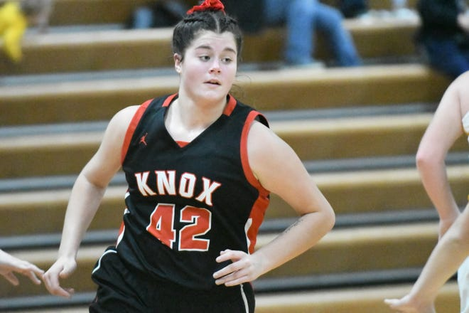 Knox County senior forward Riley Strange runs out of a screen during a game Monday against Milan during the Tri-Rivers Classic.