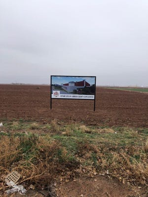 A sign sits at the sight of the future Lubbock County Expo Center
