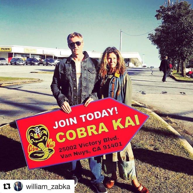 Susan Gallagher in a scene with William Zabka from ''Cobra Kai.''