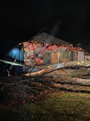 """A large tree fell on top of a home on Greene Street in Hopedale, causing """"a partial structural collapse,"""" the Fire Department reported Monday night on Facebook."""
