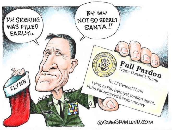 Cartoon about the presidential pardoning of Michael Flynn