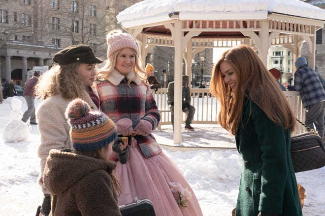 "From left, Willa Skye as Mia, Jillian Shea Spaeder as Jane, Jillian Bell as Eleanor and Isla Fisher as Mackenzie Walsh in ""Godmothered,"" streaming on Disney+."
