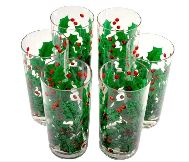 This festive set of six mid-century vintage Georges Briard holly-theme Collins glasses was recently available for $210 at TheHourShop.com.