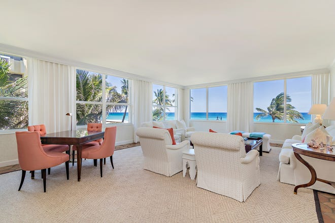 One of the two living rooms in the double condominium at the Lowell House has windows affording views of the Atlantic Ocean at Midtown Beach. The condo — designated 3A and 3B at 340 S. Ocean Blvd — is listed, furnished, at $6.2 million.