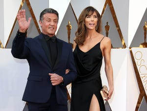 Sylvester Stallone and Jennifer Flavin arrive at the 88th annual Academy Awards at the Dolby Theater in Los Angeles in 2016. Sources have confirmed to the Palm Beach Daily News that the actor is behind a sale recorded Wednesday at $35.375 million for an estate on the North End of Palm Beach.