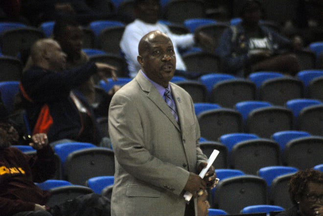 Virginia State men's basketball head coach Lonnie Blow looks on while his team plays during the 2019-20 season. VSU announced that it will opt out of the 2020-21 men's and women's basketball seasons due to the COVID-19 pandemic.
