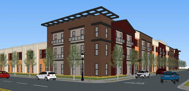 An artist's rendering of the Liberty Square low-income housing project that is being built in downtown Stockton.