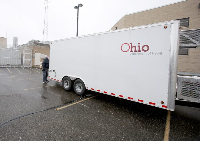 The new morgue trailer on loan from the state, housed outside the Stark County Coroners office.