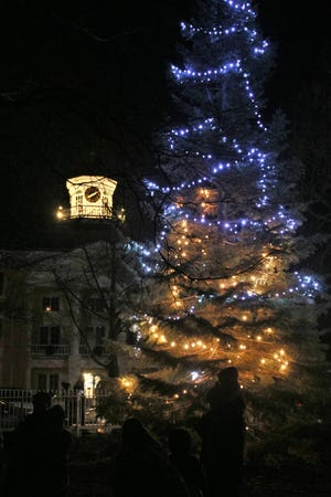 A decorated tree at Bishop Hill's St. Lucia celebration last year.